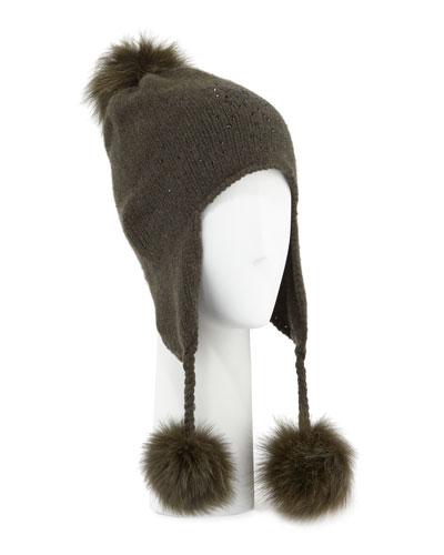 Carolyn Rowan CASHMERE CRYSTAL-EMBELLISHED TRAPPER HAT W/ FUR POMPOMS
