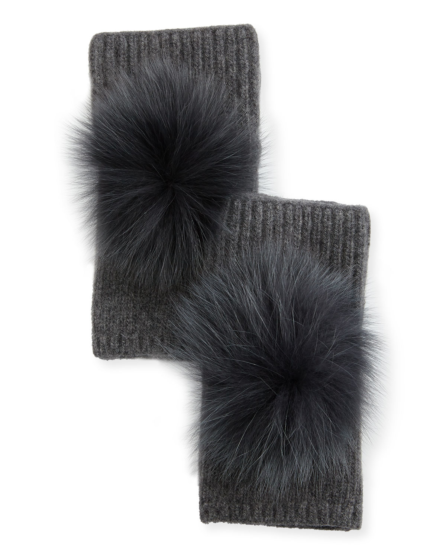 Fingerless Cashmere Gloves w/ Fur Pompoms, Dark Gray