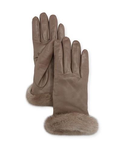 2d3b8ae2adc699 Leather Gloves w  Mink Fur Cuffs