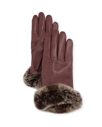 Leather Gloves w/ Rabbit Fur Cuffs