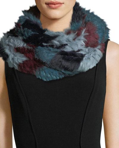 Chevron Long-Hair Rabbit Fur Knit Infinity Scarf