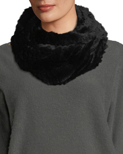 Knitted Fur Infinity Scarf