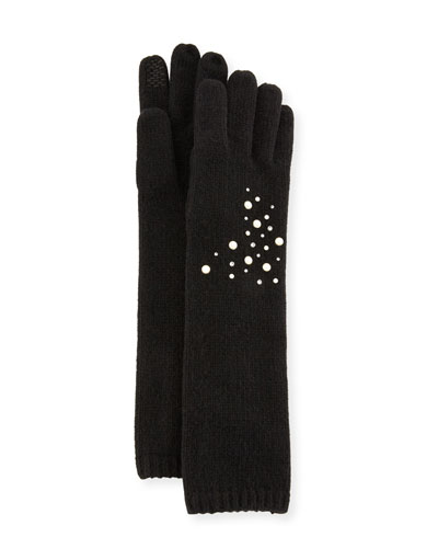 Cashmere Open Knit Embellished Gloves
