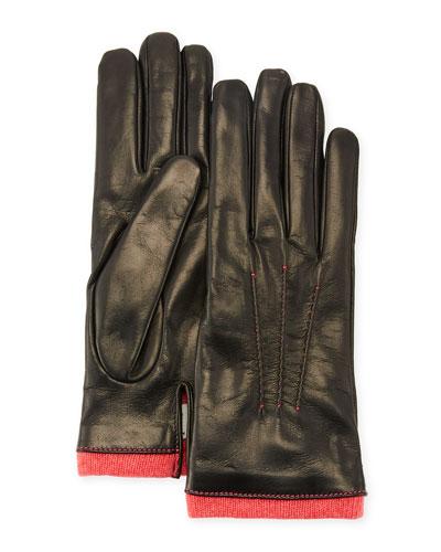Leather Gloves w/ Cashmere Trim