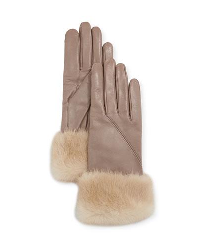 Napa Leather Gloves w/ Mink Fur Cuffs