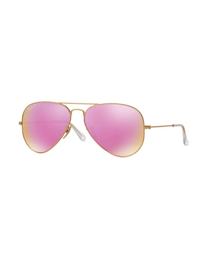 Mirrored Polarized Metal Aviator Sunglasses, Pink Pattern