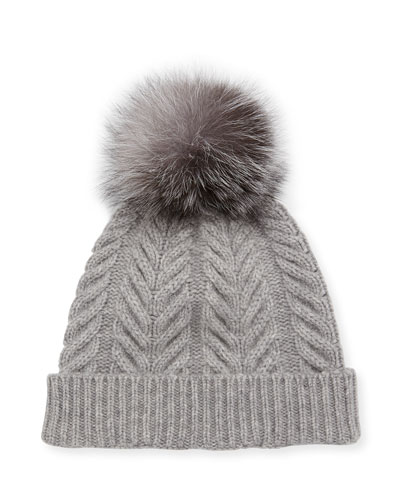 Staghorn Cable Knit Hat w/ Fur Pompom, Gray