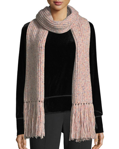 Devin Boucle-Knit Scarf w/ Fringed Edges