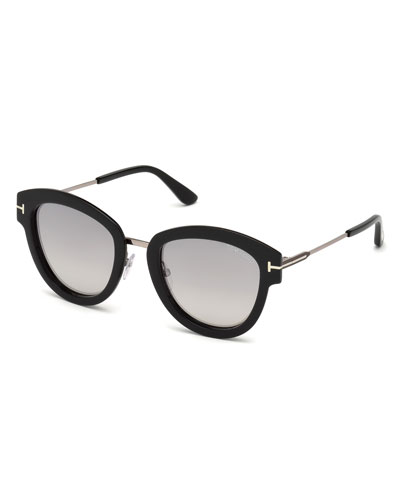 Oval Mirrored Acetate/Metal Sunglasses