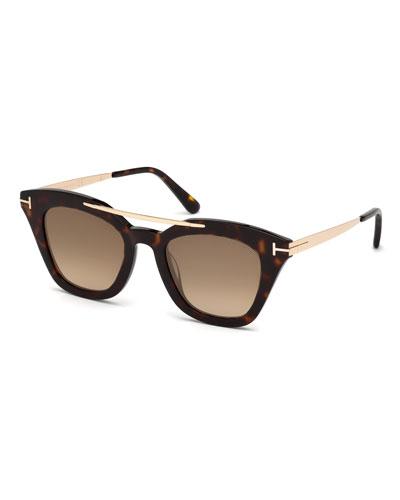Anna Square Acetate/Metal Sunglasses