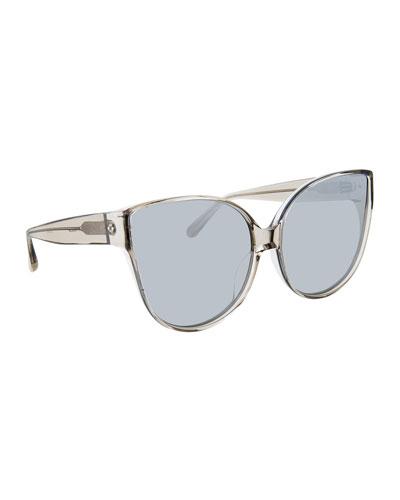 Transparent Cat-Eye Sunglasses, Gray Pattern