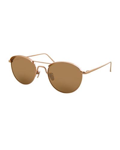 Round Titanium Sunglasses, Rose Gold