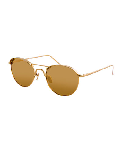 Round Titanium Sunglasses, Yellow Pattern