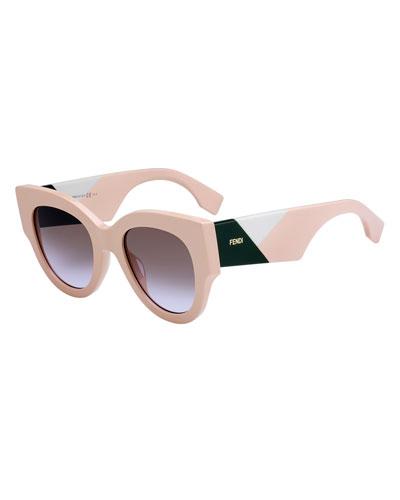 Wide-Arm Round Gradient Sunglasses