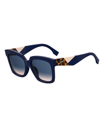 Tricolor-Arm Square Gradient Sunglasses
