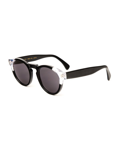 Round Transparent-Trim Sunglasses