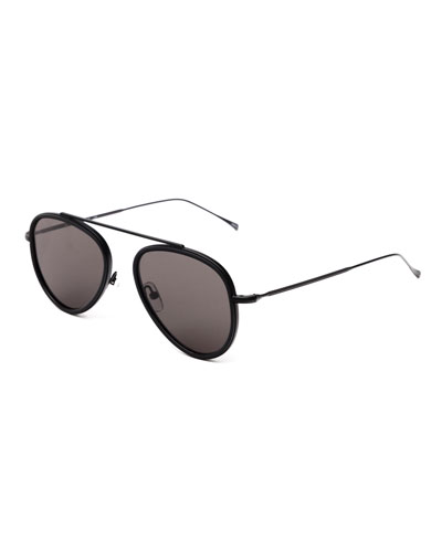 Single-Bridge Acetate Aviator Sunglasses, Black