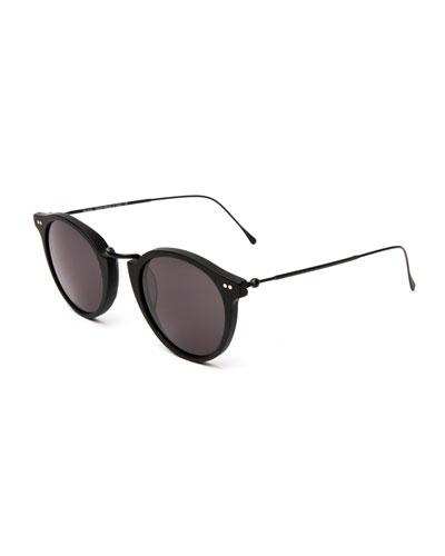 Round Acetate & Steel Monochromatic Sunglasses