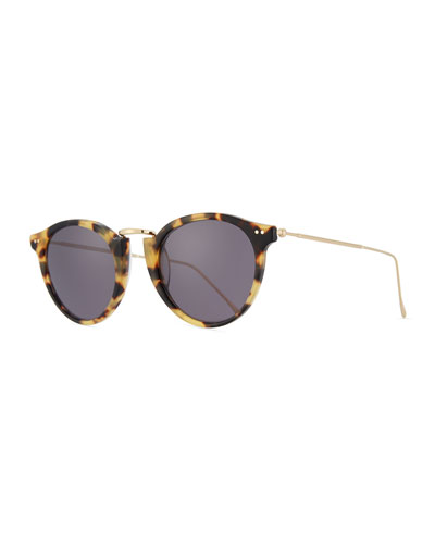 Round Acetate & Steel Sunglasses, Brown Pattern