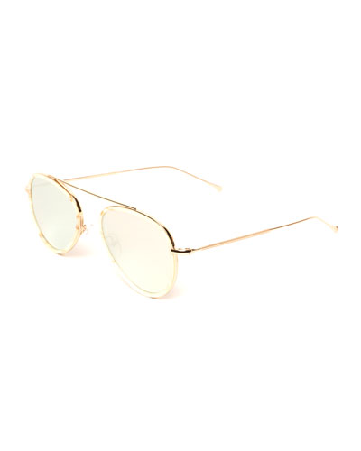 Single-Bridge Acetate Aviator Sunglasses, Beige