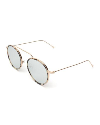 Round Geometric Bar Mirrored Sunglasses, White
