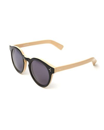 Two-Tone Round Monochromatic Sunglasses, Black