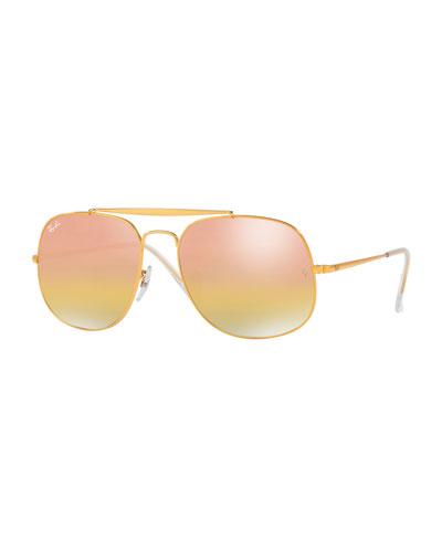 Iridescent Square Sunglasses, Light Brown