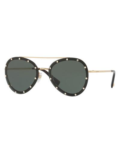 Studded Aviator Sunglasses