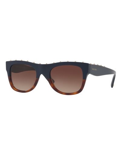 Rockstud Two-Tone Square Sunglasses