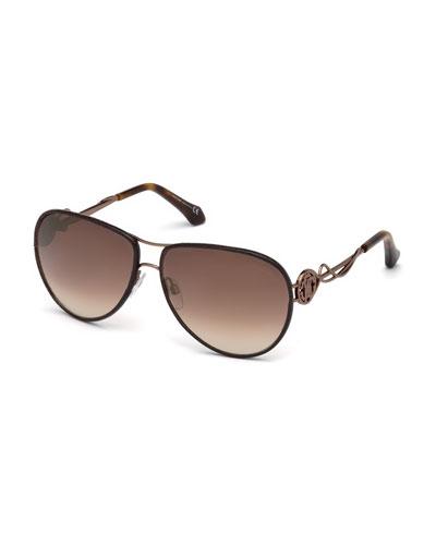 Intertwining Gradient Aviator Sunglasses, Brown