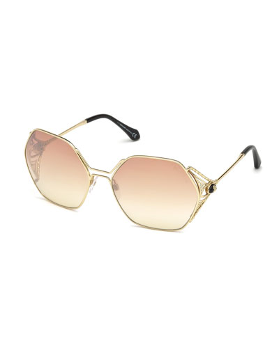 Roberto Cavalli Hexagon Gradient Metal Sunglasses, Pink