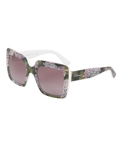 Gradient Squared Cat-Eye Acetate Sunglasses