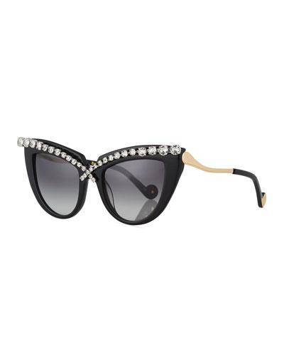 Lusciousness Cat-Eye Crystal Sunglasses, Black