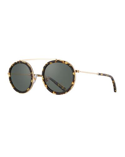 Conti Round Polarized Sunglasses, Brown Pattern