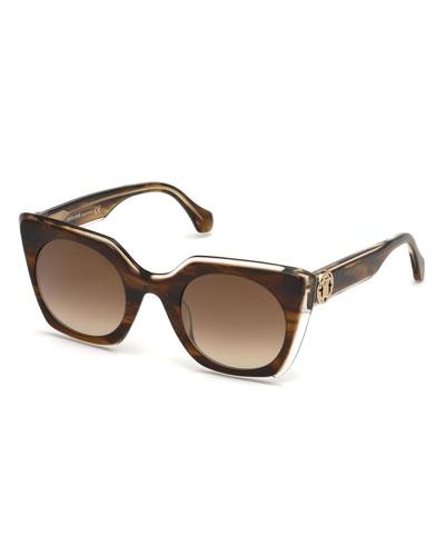 Square Acetate Gradient Sunglasses, Brown