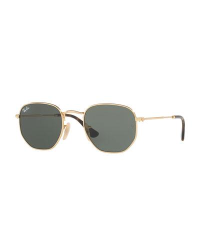 Mirrored Hexagonal Sunglasses, Green