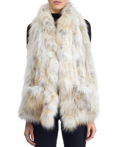 Gorski Accessories KNIT RUFFLE FOX FUR STOLE W/ POCKETS, WHITE