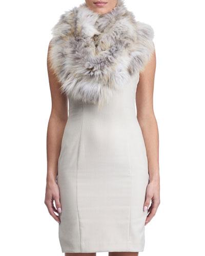 Fox Fur Ruffle Knit Infinity Scarf, White