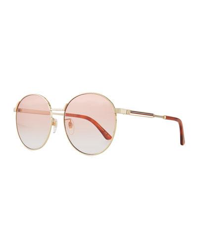 Retro-Inspired Round Metal Web Sunglasses