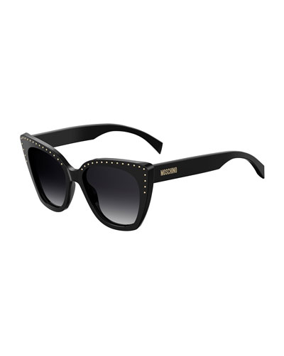 53Mm Cat Eye Sunglasses - Black Havana, Black Pattern