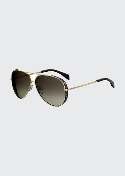 MOSCHINO Women'S 007 Mirrored Aviator Sunglasses, 61Mm, Yellow Pattern