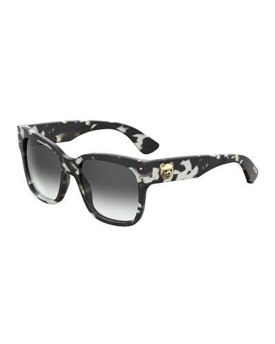 MOSCHINO 56Mm Gradient Lens Sunglasses - Black Havana, Red Pattern