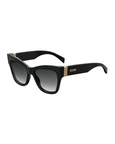 Square Acetate Sunglasses w/ Chain Temples