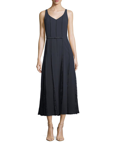 Faryn V-Neck Sleeveless Belted Midi Dress with Lace Insets