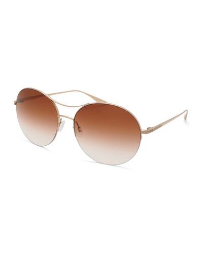 Mahina Round Gradient Sunglasses, Brown