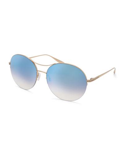 Mahina Round Mirrored Sunglasses, Blue