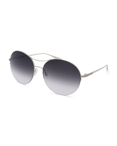 Mahina Round Gradient Sunglasses, Gray