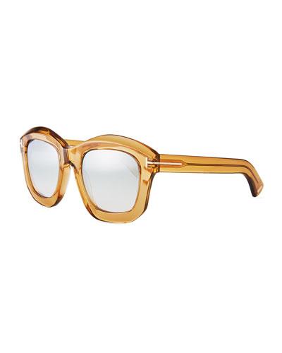 Shiny Transparent Square Mirrored Sunglasses, Champagne