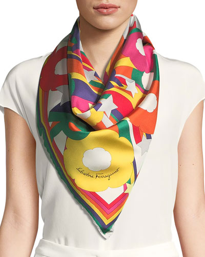 Explosion Silk Foulard Square Scarf in Rainbow