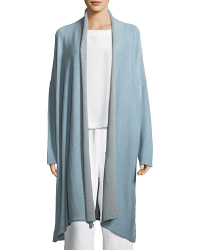 Two-Tone Lightweight Cotton Scrunched Long Shawl Cardigan